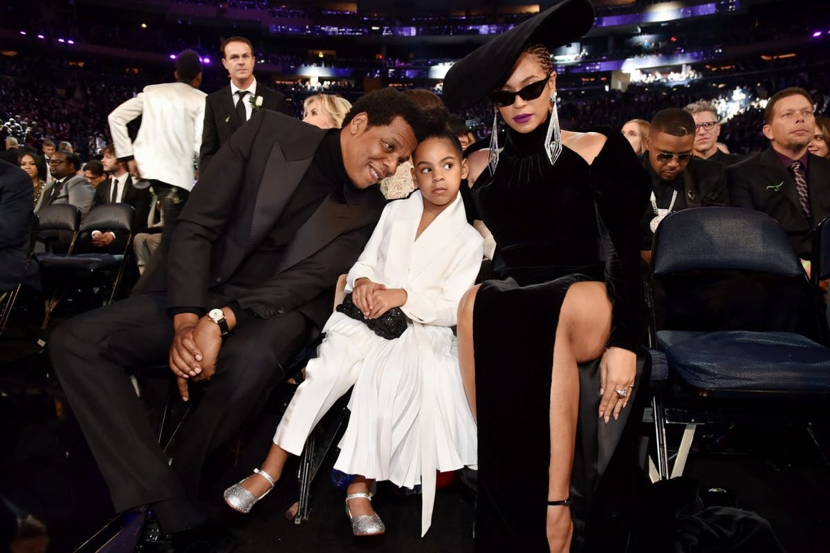 Jay Z, daughter Blue Ivy Carter and recording artist Beyonce attend the 60th Annual GRAMMY Awards at Madison Square Garden on January 28, 2018 in New York City. (Photo by Kevin Mazur/Getty Images for NARAS)