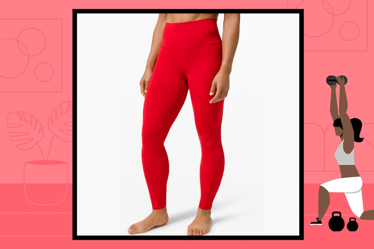 Red Lululemon leggings with subtle seams and extra high waist.