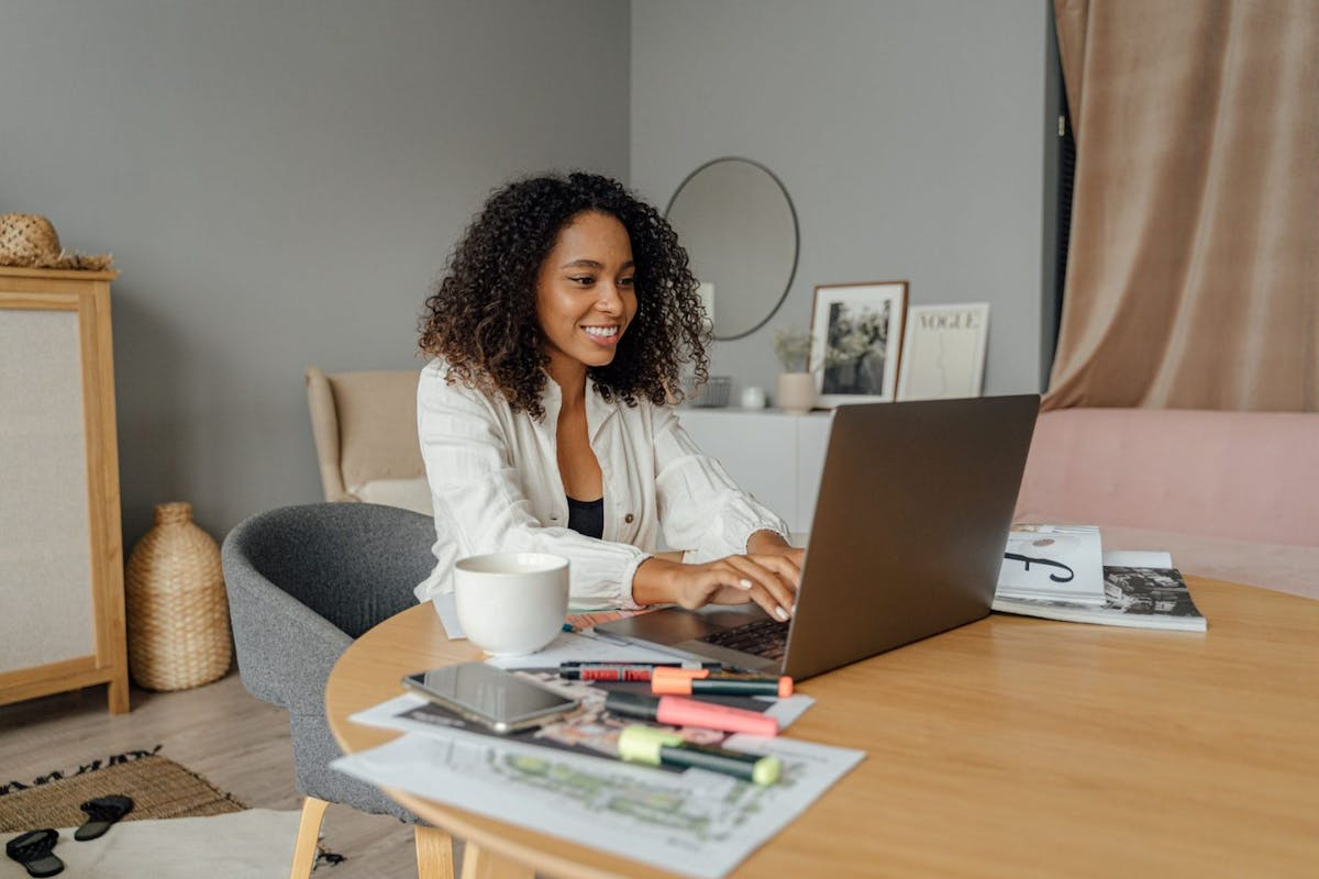 A woman on a work Zoom call while working from home