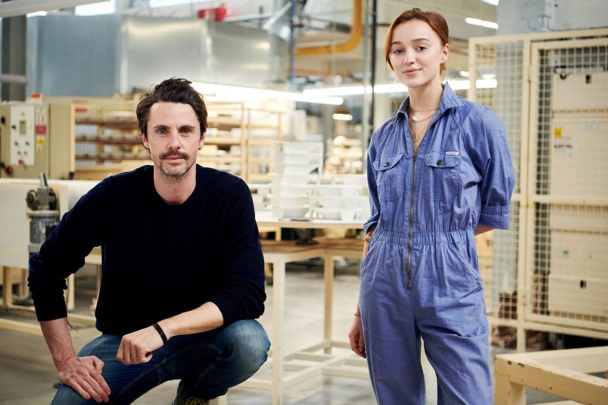 Phoebe Dynevor and Matthew Goode preparing for their roles in The Colour Room at Wedgwood