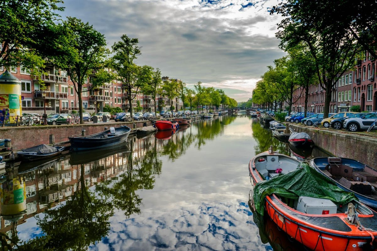 Amsterdam canal on summer day
