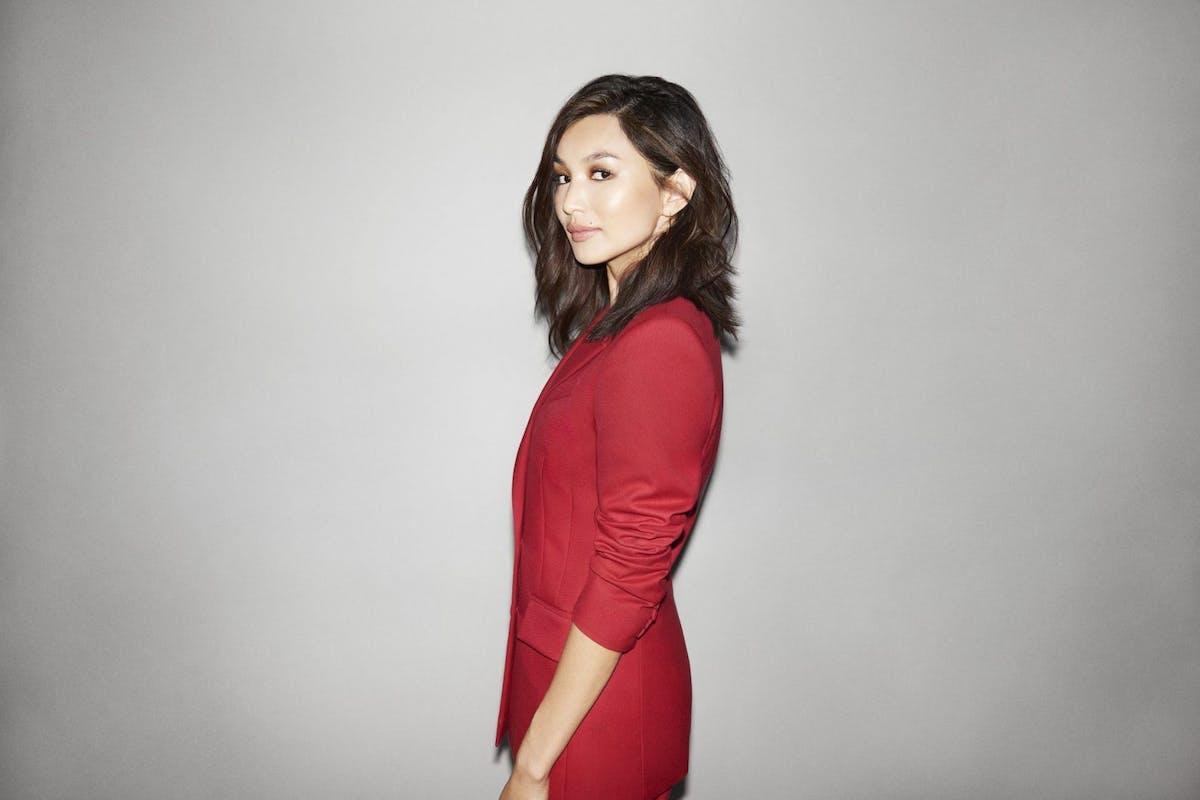 Gemma Chan against a grey backdrop
