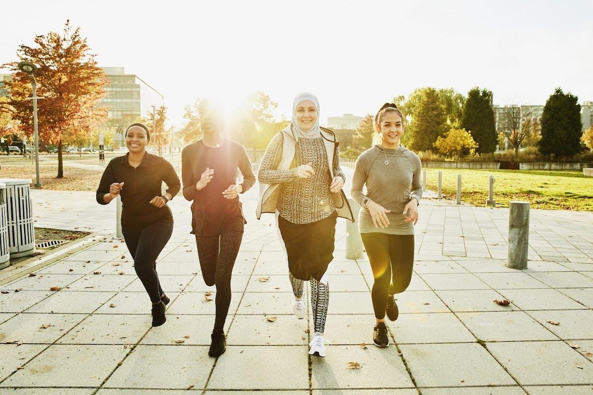 Women running in the sunshine