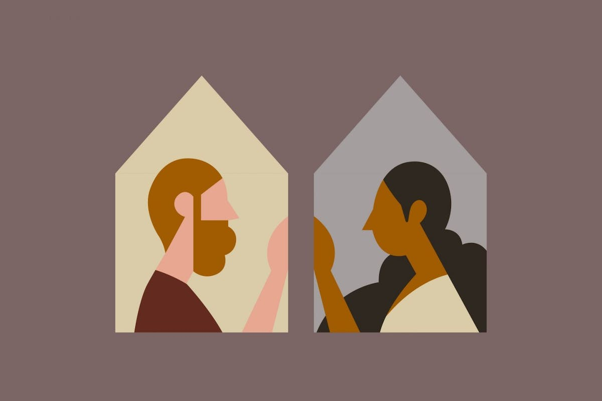 Illustration of couple separated by wall