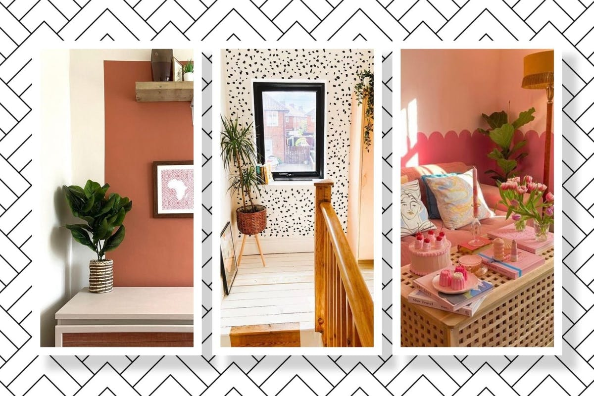 Three pictures of different wall paint ideas and trends