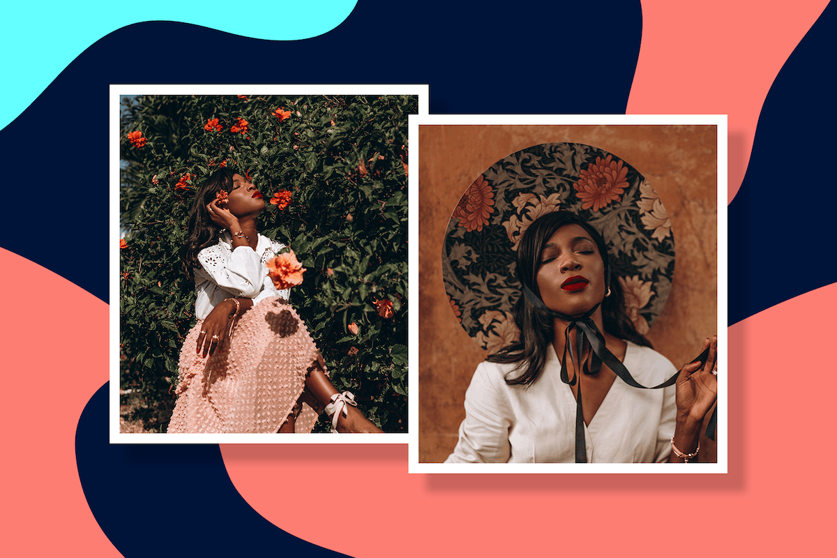 Influencer Onyi Moss poses in two self-portrait photos; left image: sat against a rose bush, right: portrait headshot in wide brimmed hat