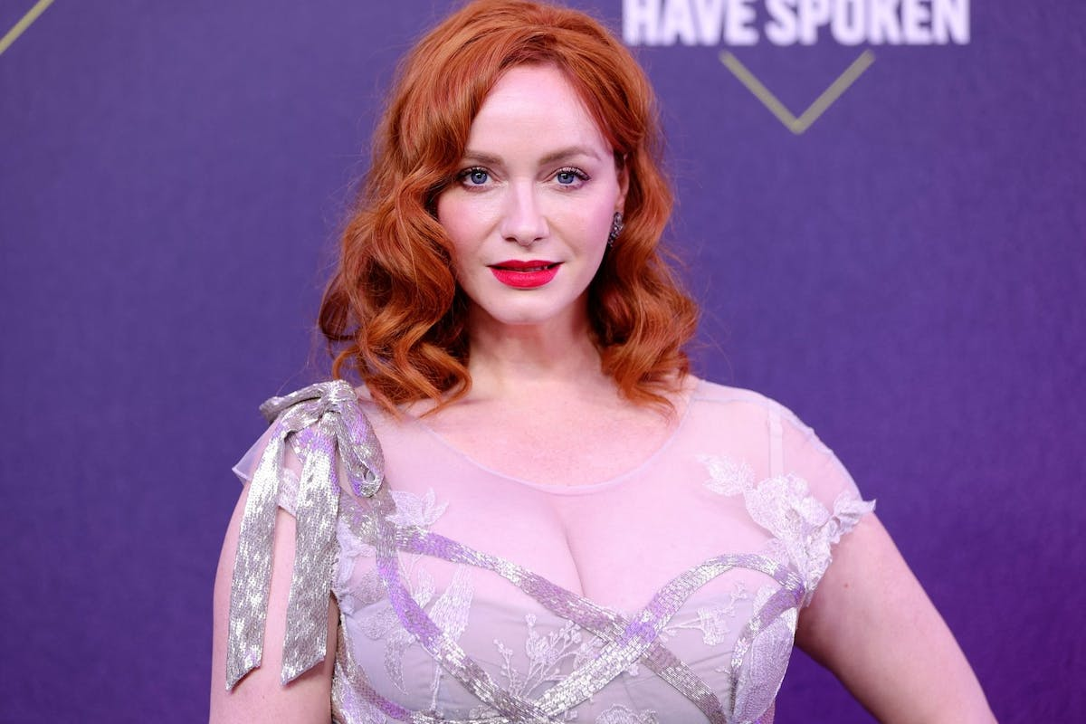 Christina Hendricks arrives at the 2020 E! People's Choice Awards held at the Barker Hangar in Santa Monica, California and on broadcast on Sunday, November 15, 2020. (Photo by Rich Polk/E! Entertainment/NBCU Photo Bank via Getty Images)