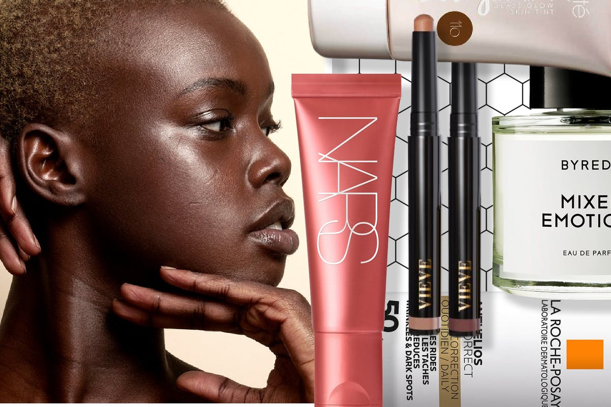 Collage of woman with glowing skin and March beauty launches
