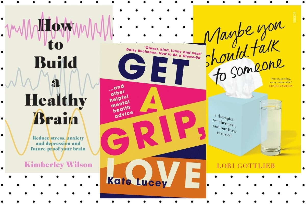 A collage of covers of How To Build A Healthy Brain, Get A Grip, Love and Maybe You Should Talk To Someone.