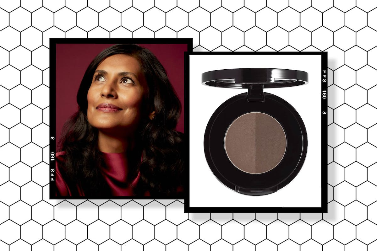 A collage of Ruby Hammer and Anastasia Beverly Hills' Brow Powder Duo.