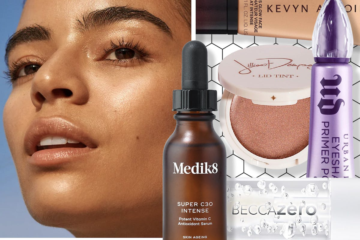 Collage of a woman with glowy skin and dewy skincare and make-up products