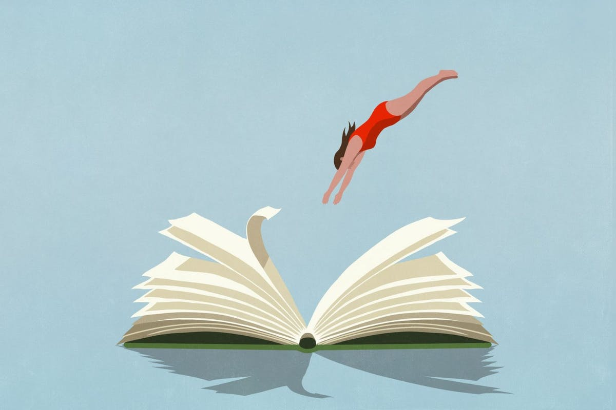 Illustration of women diving into book
