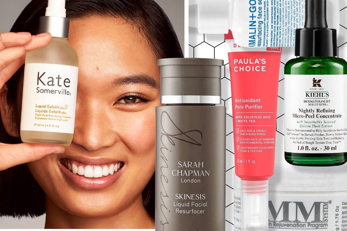 Collage of a woman holding a serum and different phytic acid skincare products