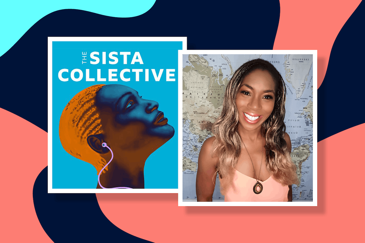 Logo for BBC sounds podcast 'The Sista Collective' with presenter Jessie Aru Phillips