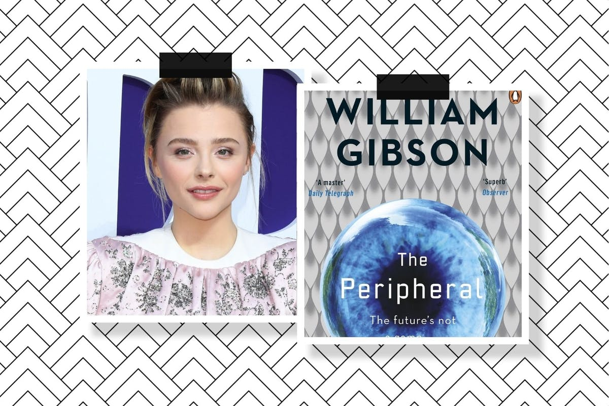 A collage of a picture of Chloe Grace Moretz and the cover of William Gibson's The Peripheral