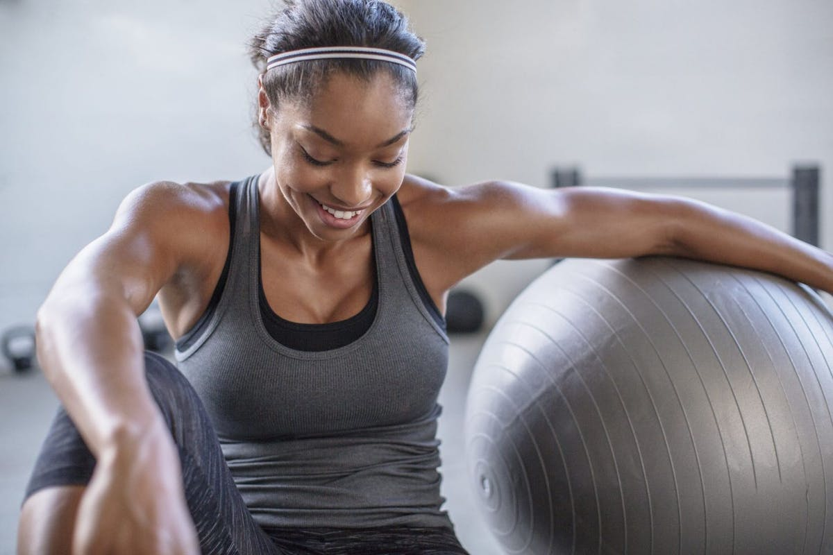 woman using a stability ball