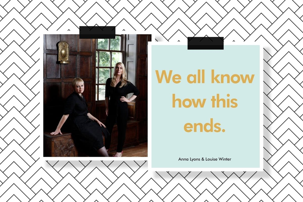 A collage of photos, one of Anna Lyons and Louise Winter and the other the cover of We All Know How This Ends