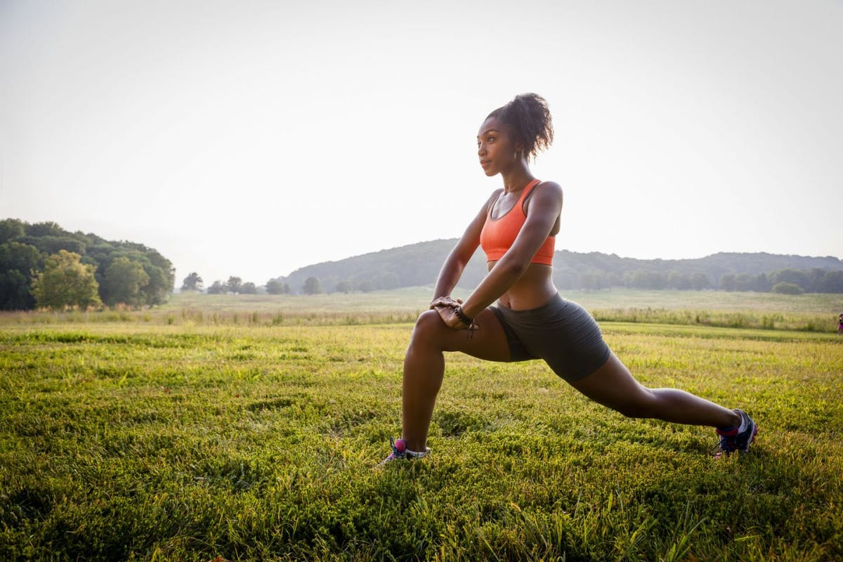 woman lunging in the park