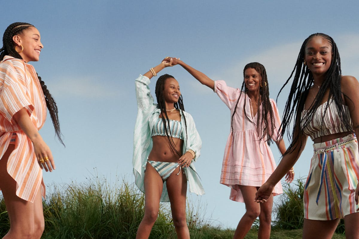 Liya Kebede and models for the lemlem x H&M collection