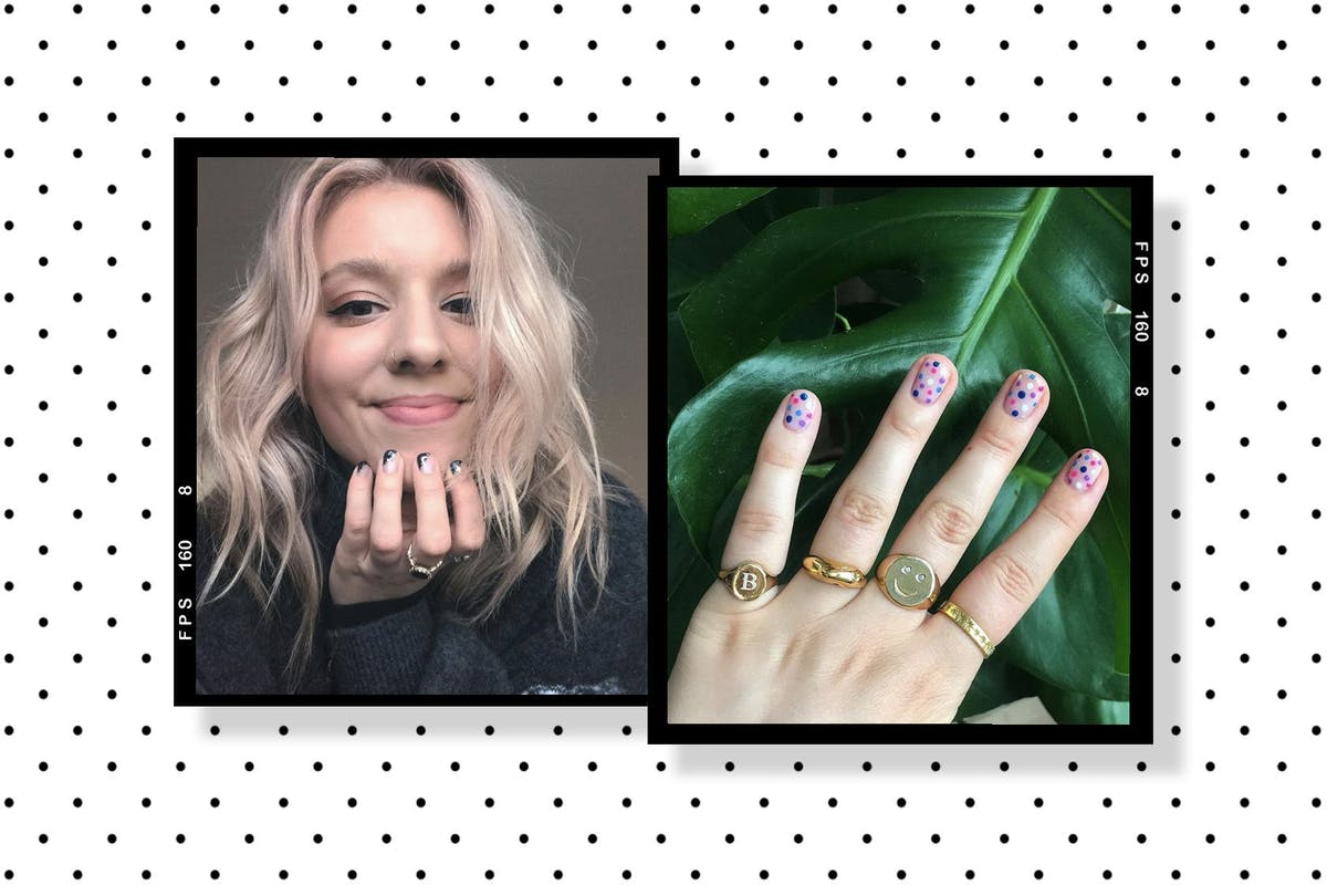 A collage of writer Rebecca Fearn and one of her nail art designs featuring polka dots
