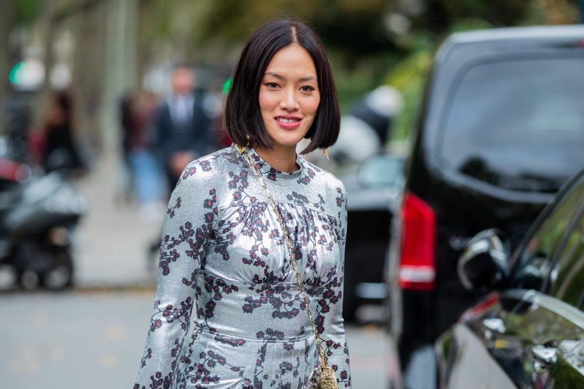 Tiffany Hsu wearing crossbody bag