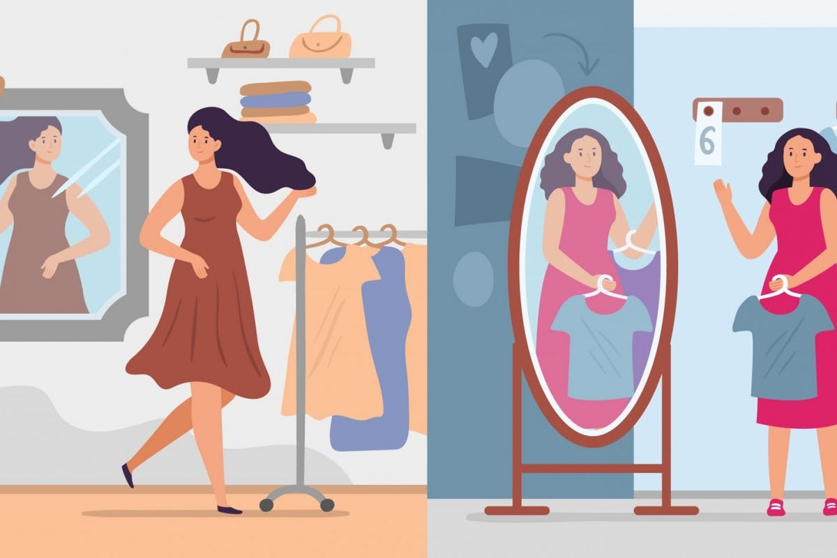 Illustration of a woman choosing between outfits