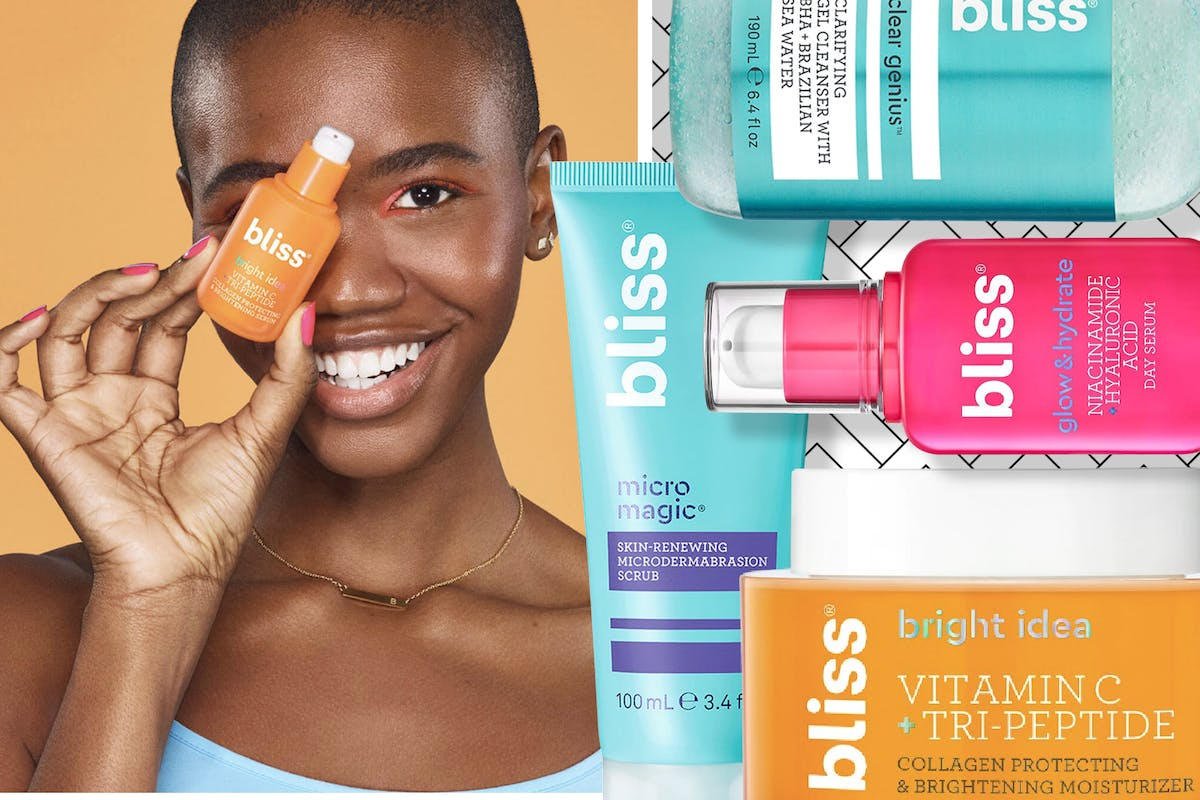 A collage of a woman holding a Bliss vitamin C serum and a selection of Bliss skincare products