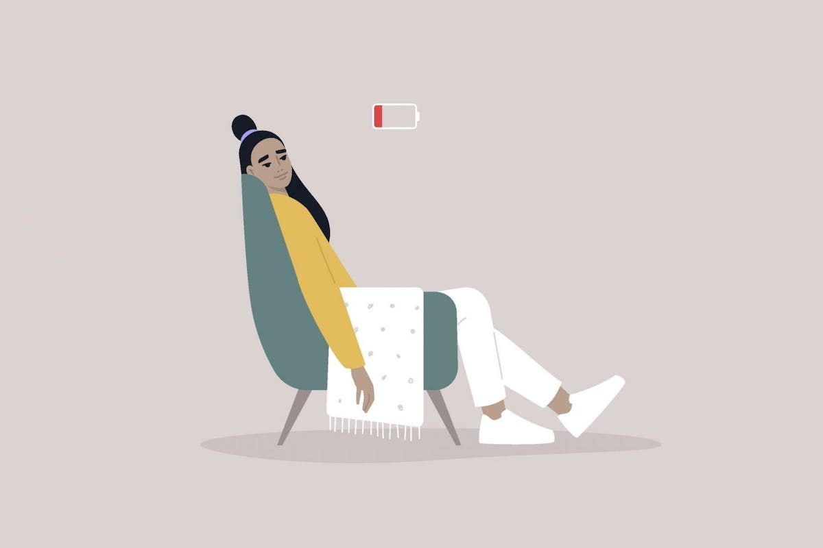 Illustration of a woman suffering from burnout