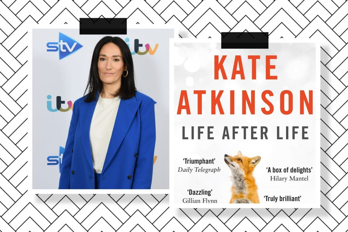A collage of two pictures, one of Sian Clifford and one of the cover of Kate Atkinson's Life After Life with a fox on it