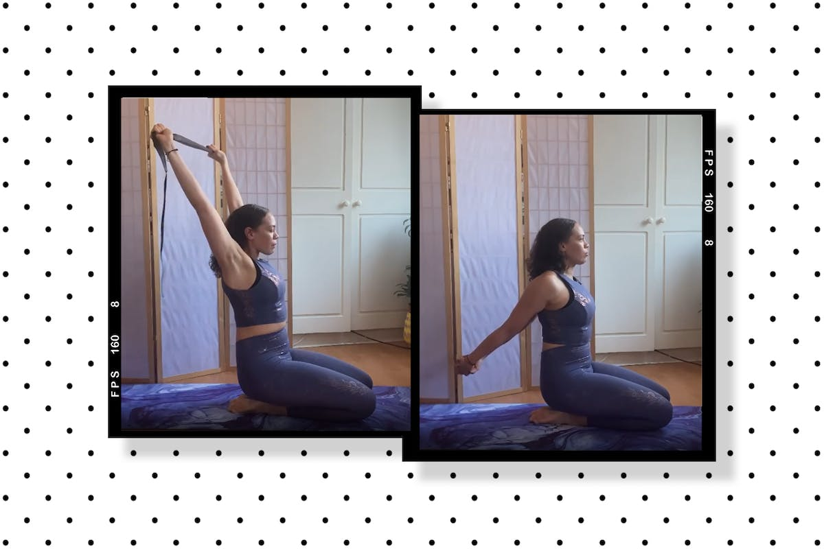 Fitness trainer Emma Obayuvana demonstrates shoulder mobility exercises including arm extensions on her yoga mat at home.