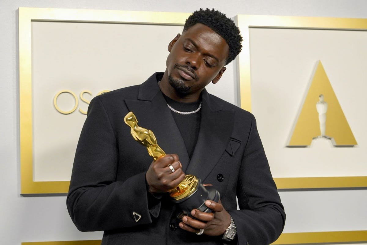 "Daniel Kaluuya, winner of Actor in a Supporting Role for ""Judas and the Black Messiah"", poses in the press room during the 93rd Annual Academy Awards at Union Station on April 25, 2021 in Los Angeles, California. (Photo by Chris Pizzello-Pool/Getty Images)"