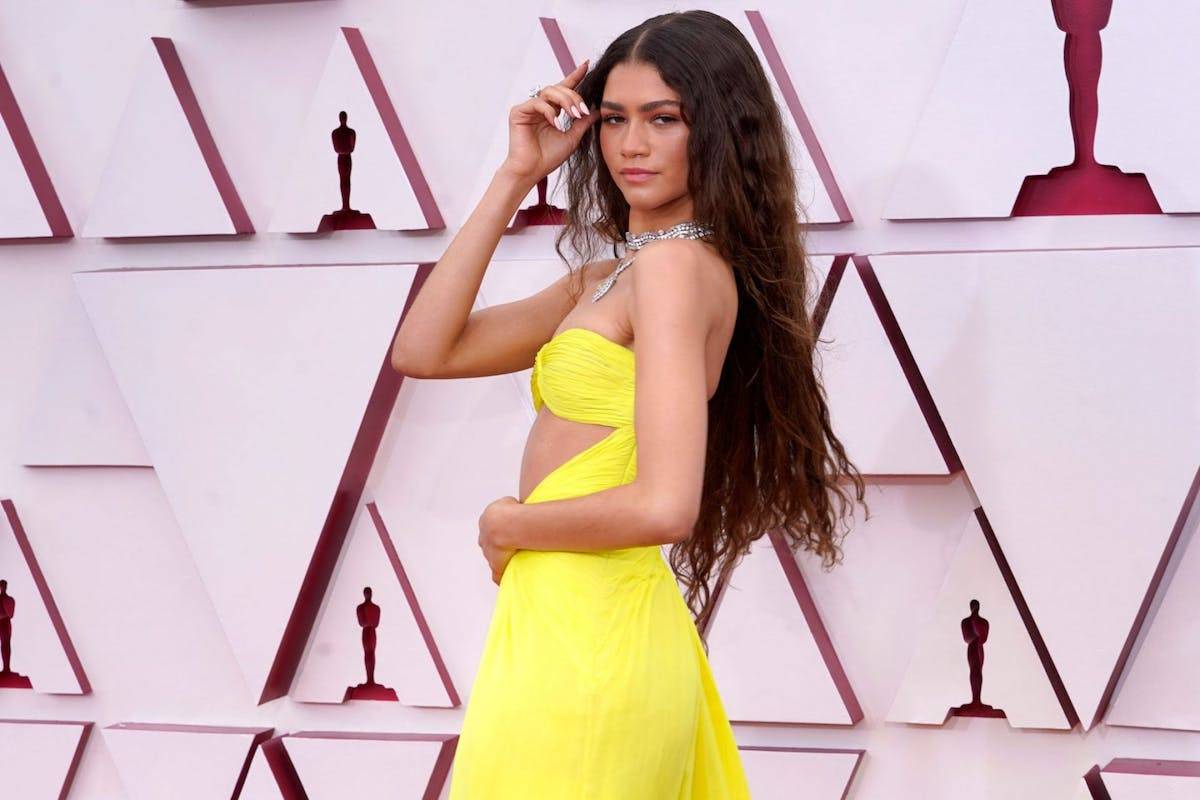 Zendaya arriving to the 93rd Academy Awards in Valentino Couture