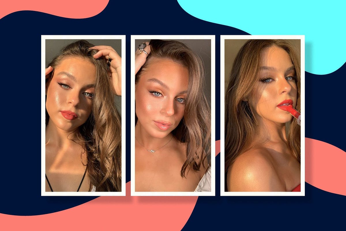 three selfies of make-up artist Georgie Rose demonstrating how to create glowing skin with make up