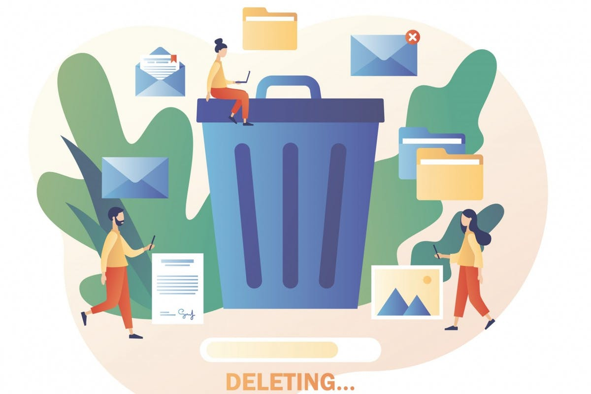 Cartoon of people hoarding digital clutter such as files, images and music files