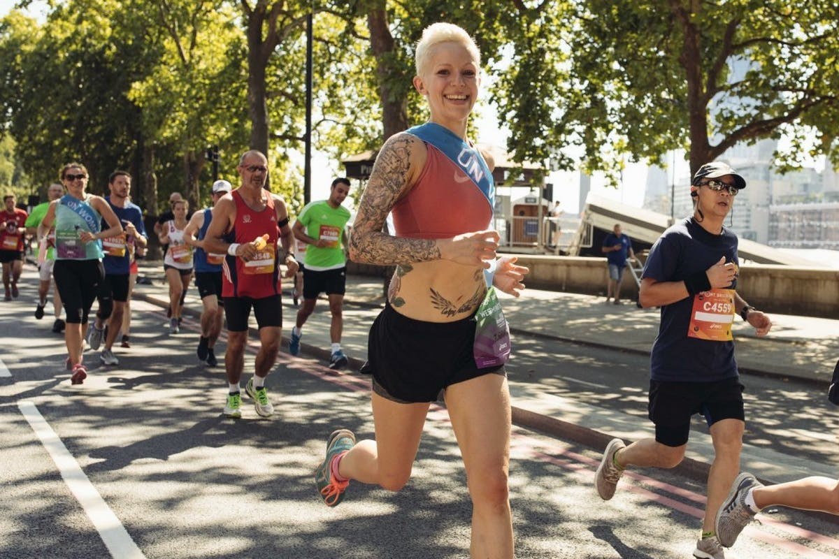 woman running in race