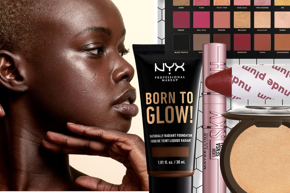 Collage of a woman and various make-up products sold on Asos