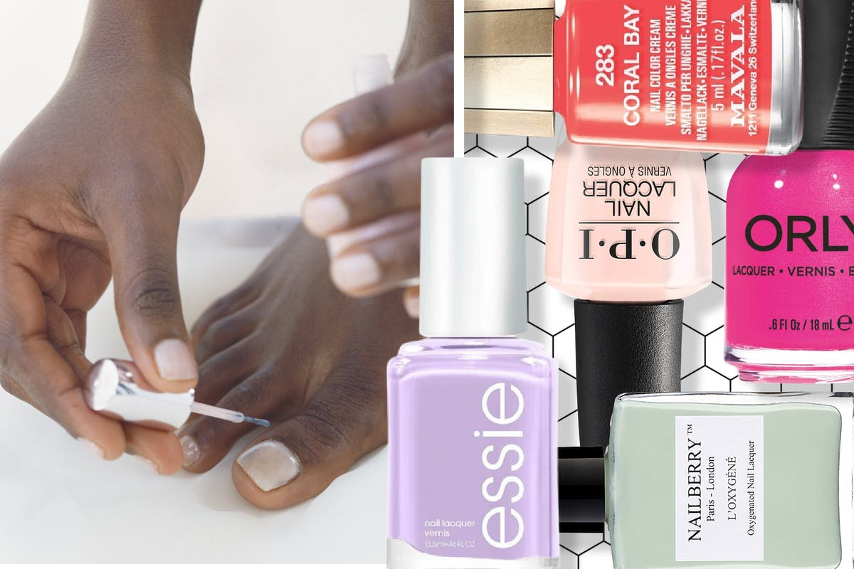 Collage of a woman painting her toenails and different nail polish bottles