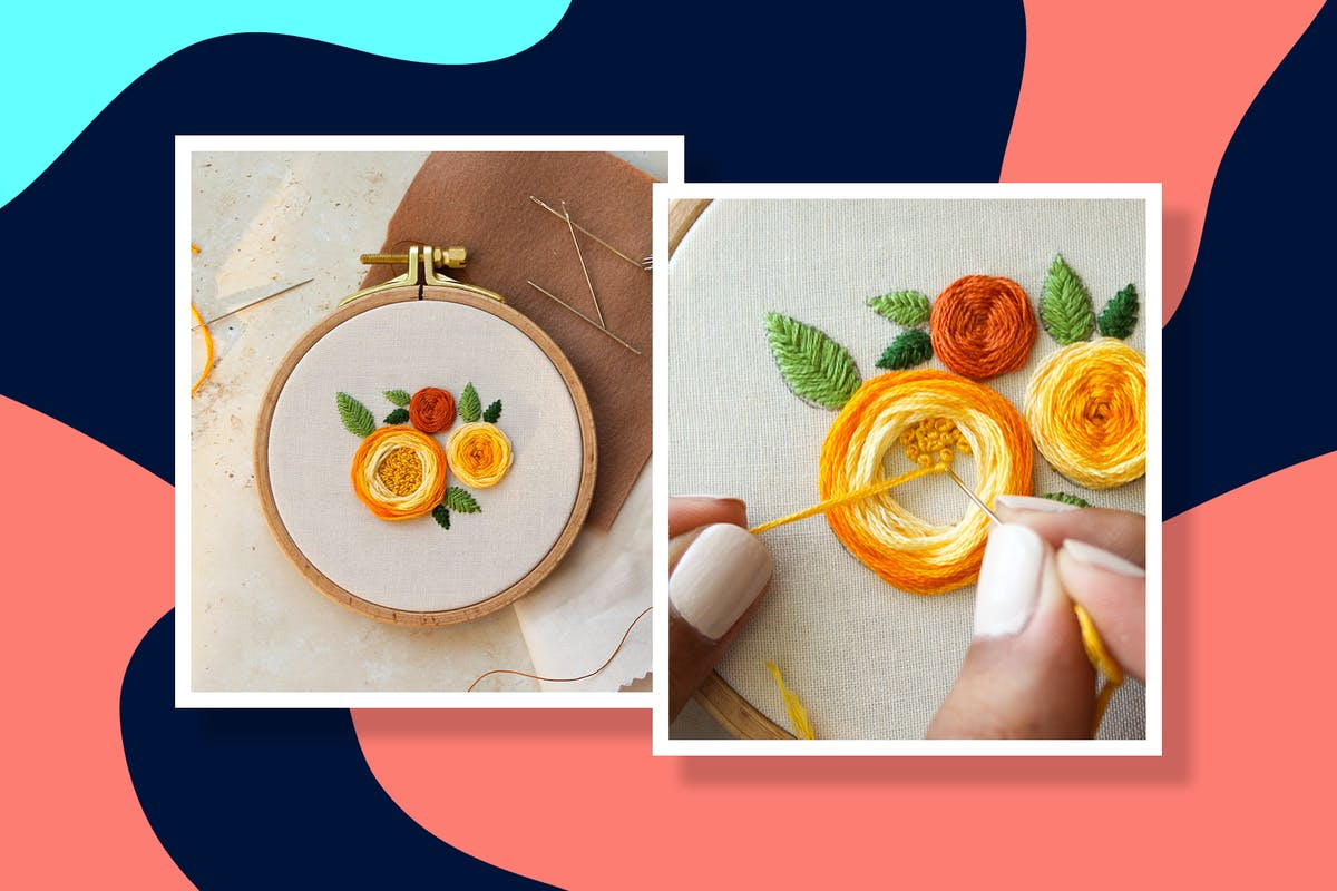 easy diy flower embroidery design tutorial in progress with stitches