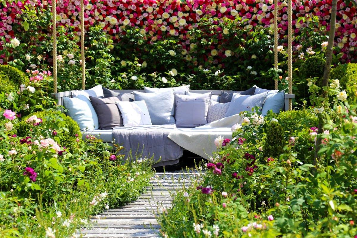 Empty Sofa Amidst Plants In Garden - stock photo