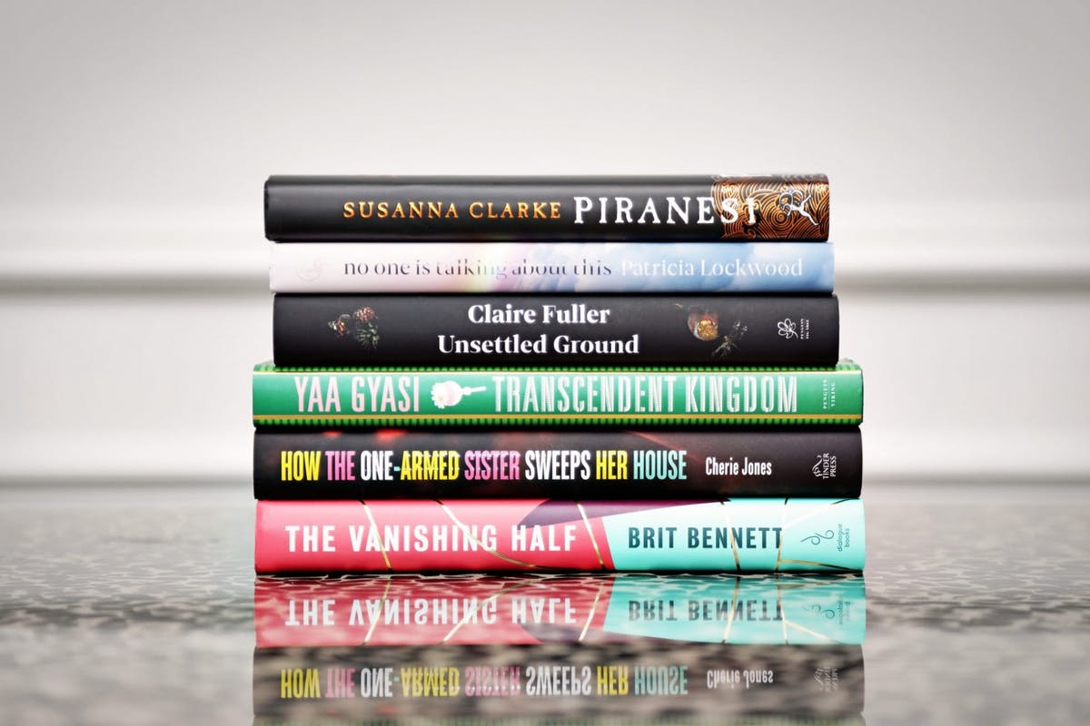 A pile of books from the Women's Prize For Fiction 2021 shortlist
