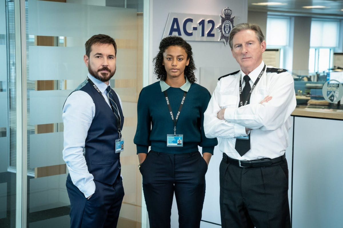 Martin Compston, Shalom Brune-Franklin and Adrian Dunbar as Steve Arnott, Chloe Bishop and Ted Hastings in Line Of Duty