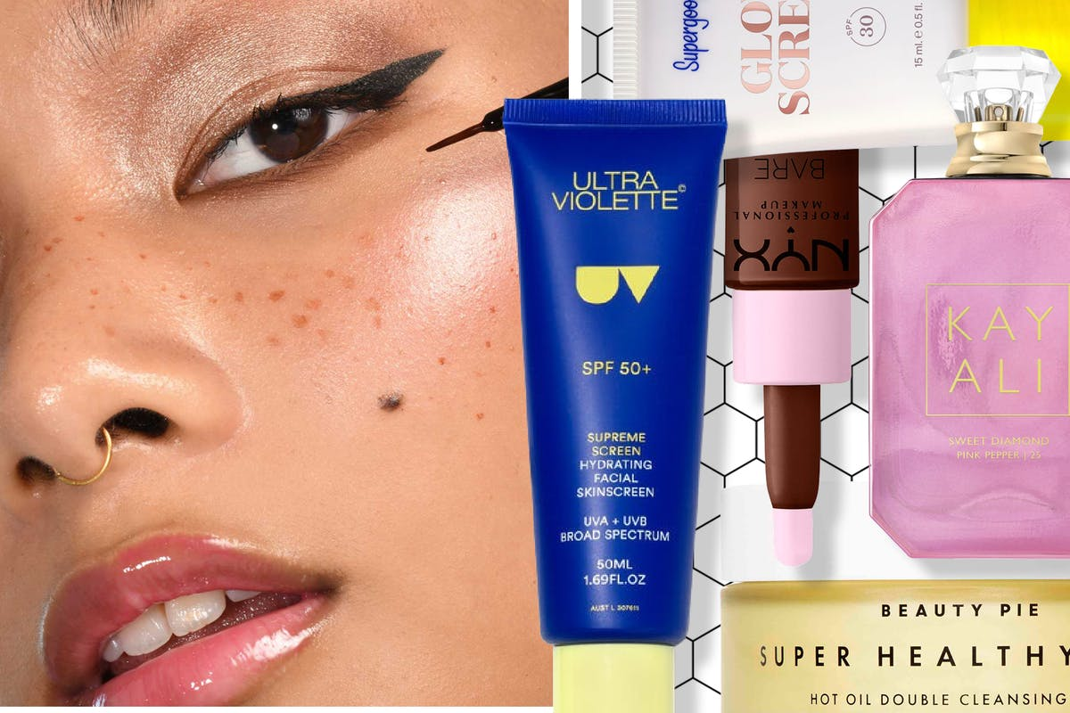 Collage of a woman applying freckle tint and different beauty products