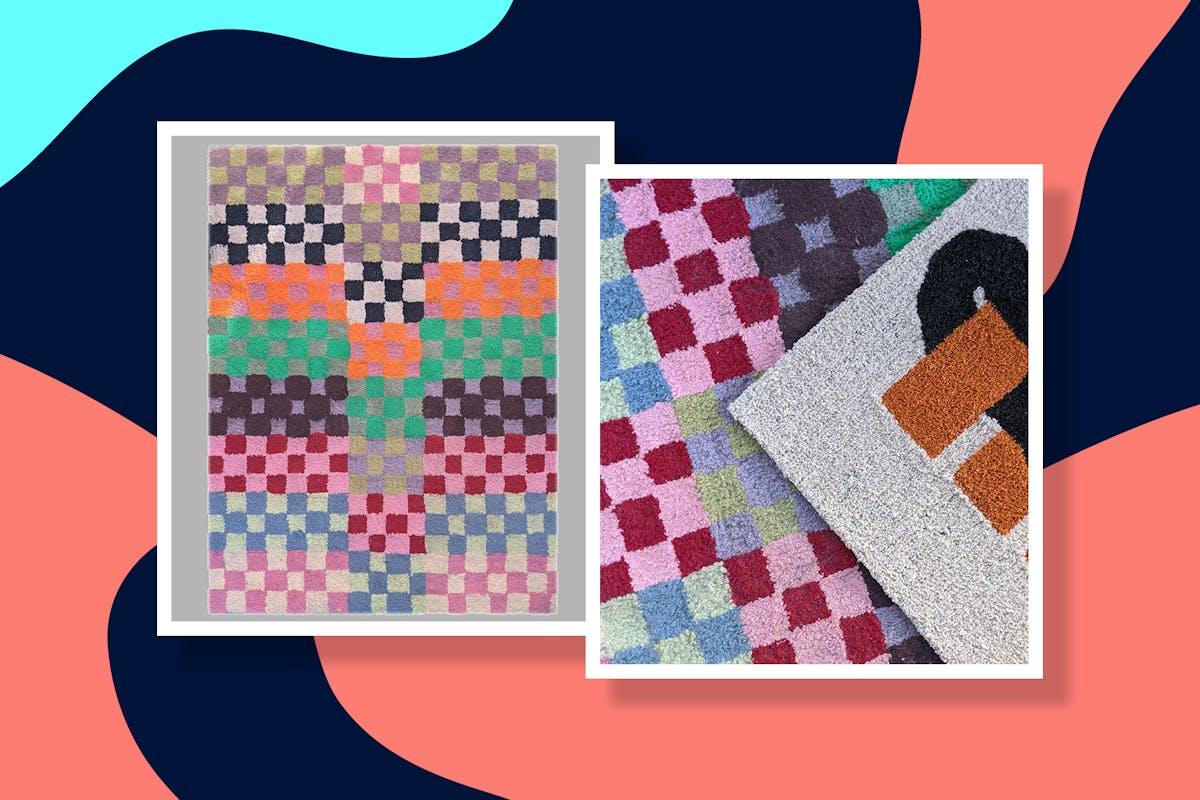 multicoloured design of homemade tufted rug DIY
