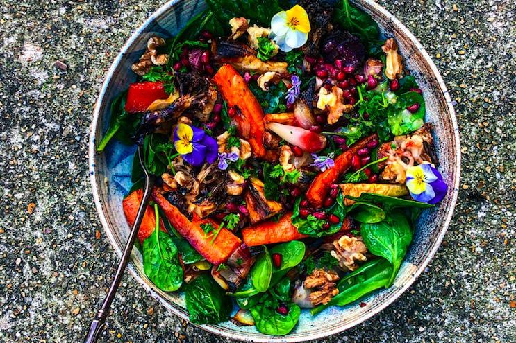 Roasted roots happy salad refuel recipe
