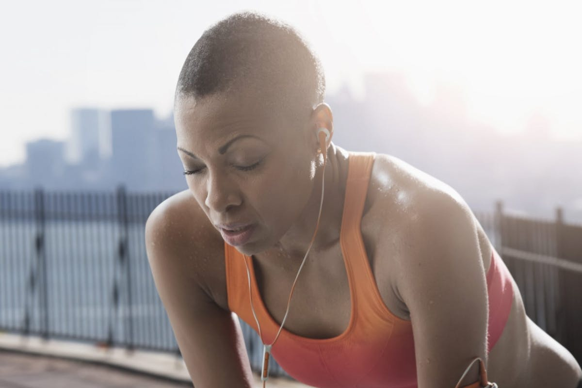 woman exhausted while working out