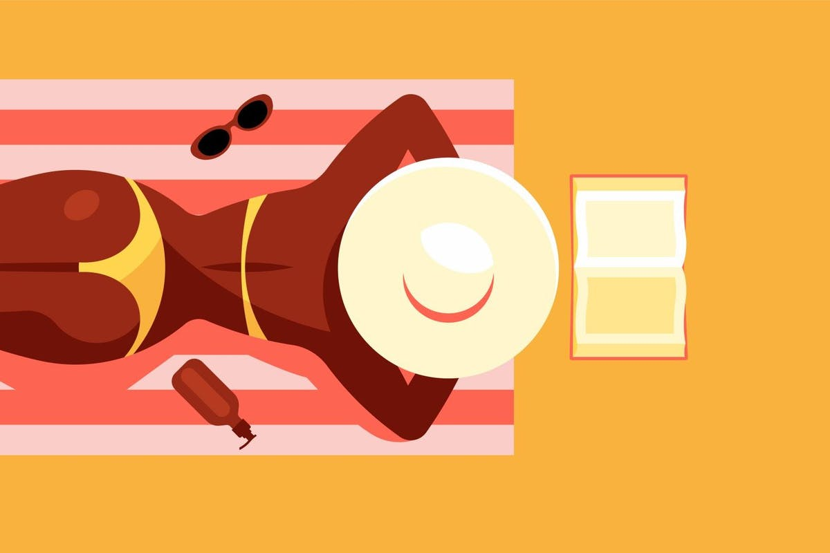 oman in bikini and straw hat sunbathing and reading book. Pretty black woman on the beach. View from above. Vacation concept. Sun, sand, the beach. Modern vector illustration. Yellow colors.