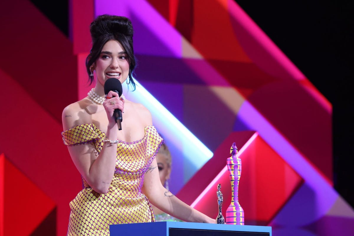 Dua Lipa receives the award for Best Female Solo Artist during The BRIT Awards 2021 at The O2 Arena on May 11, 2021 in London, England. (Photo by JMEnternational/JMEnternational for BRIT Awards/Getty Images)