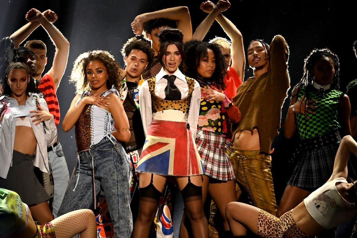 Dua Lipa performing at the Brit awards 2021