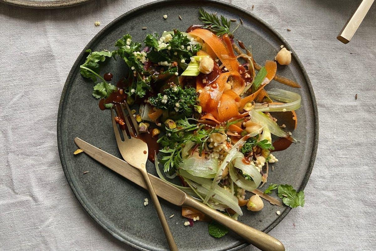 Moroccan grain and sweet potato salad