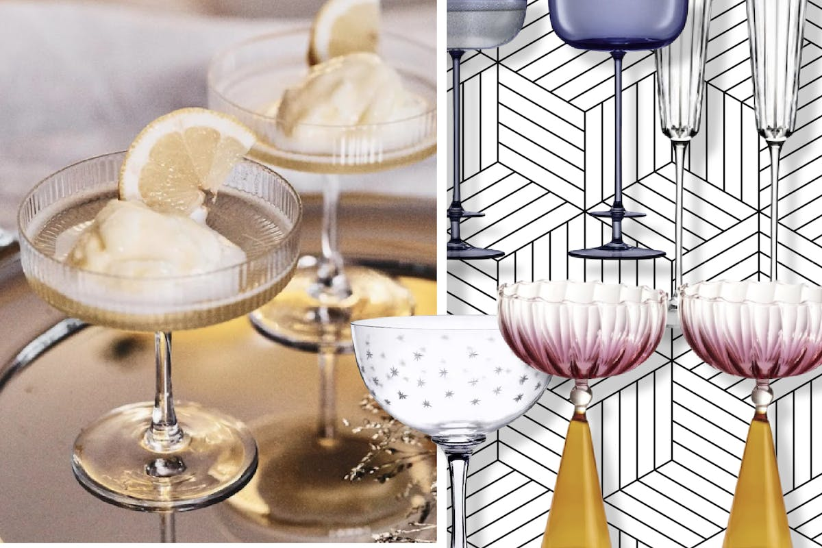 Champagne flutes and coupes